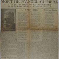 Mort de N'Angel Guimerà : a un quart d'una de la tarda d'ahir morí el gran poeta i dramaturg català