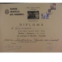 Diploma d&#039;agraïment en la XVIena Exposició Local i Social Filatèlica i Numismàtica i IVa. Juvenil amb participació de Marcofília i Vinyetofília<br /><br />