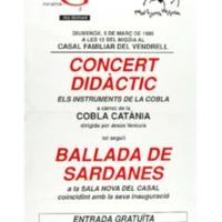 [Cartell del concert i ballada de Sardanes per la inauguració de la Sala Nova del Casal]