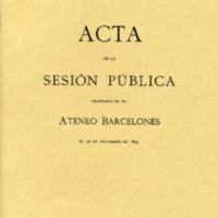 Acta de la sesión pública celebrada en el Ateneo Barcelonés el 30 de noviembre de 1895