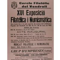 XVI Exposició Filatèlica i Numismàtica<br /><br />