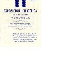 II Exposición Filatélica : Vendrell 25 a 29 julio 1951<br /><br />