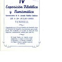 IV Exposición FIlatélica y Numismática conmemorativa de la &quot;Jornada Filatélica Catalana&quot; : Vendrell 25 a 28 julio 1953<br /><br />